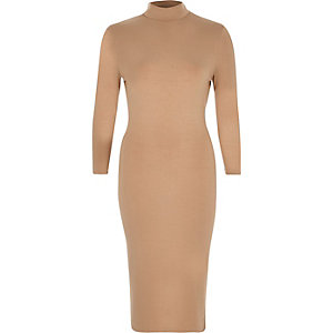Camel turtle neck bodycon dress