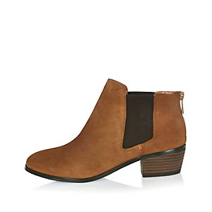 Tan suede low ankle boots