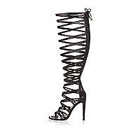 Black caged high leg heels