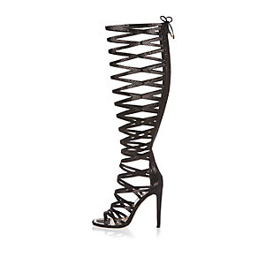 Black caged high leg heels