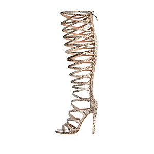 Beige snake print caged high leg heels