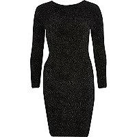Black sparkly cross back bodycon dress