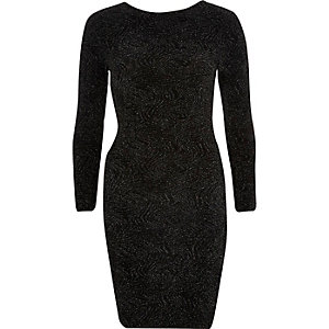 Black sparkly cross back bodycon dress