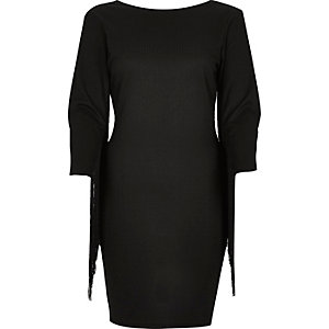 Black ribbed fringed sleeve dress