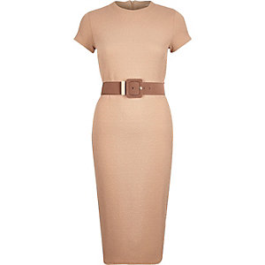 Beige belted bodycon dress