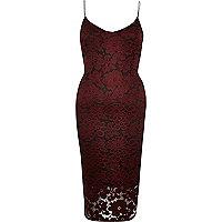 Red lace cami bodycon midi dress