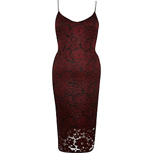 Red lace cami bodycon midi dress