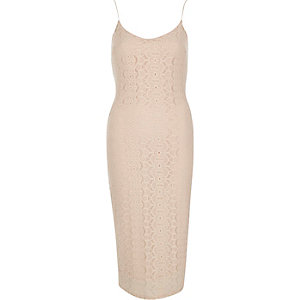 Nude lace cami bodycon midi dress