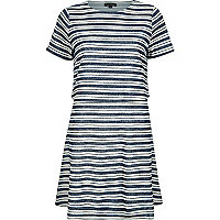 Blue stripe jersey layered dress