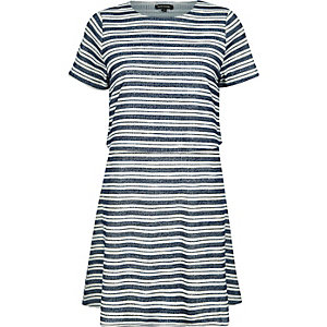 Blue stripe jersey layered dress