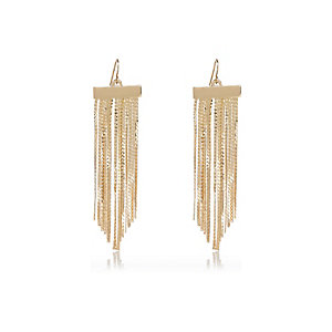 Gold tone skinny dangle earrings