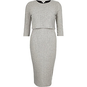 Grey ribbed double layer midi dress