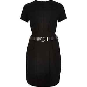 Black jersey panelled belted dress