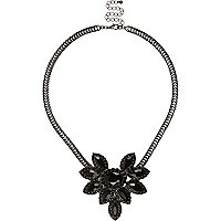 Black cluster statement necklace