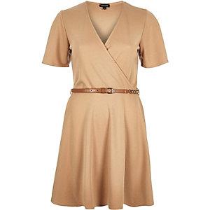 Beige wrap kimono dress