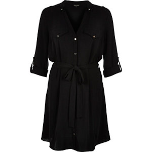 Black crepe V neck shirt dress
