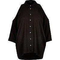 Black tailored cold shoulder shirt