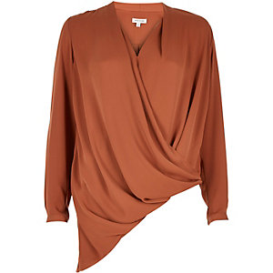 Rust asymmetric blouse