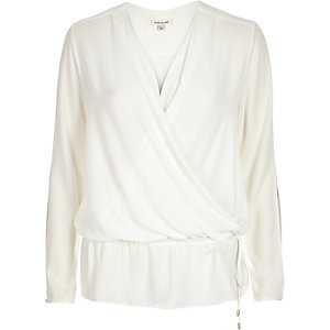 Cream tie hem blouse