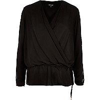 Black wrap front peplum blouse