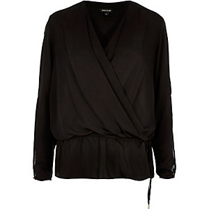 Black wrap front peplum blouse