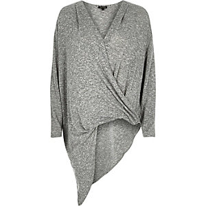 Grey slouchy asymmetric top