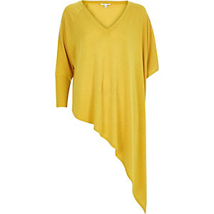 Yellow slouchy V-neck asymmetric knitted top