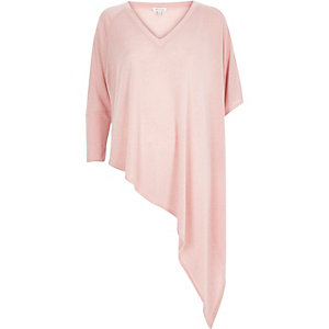 Pink slouchy V-neck asymmetric knitted top