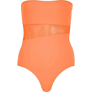 Orange mesh insert bandeau swimsuit