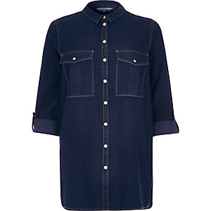 Dark wash smart denim shirt