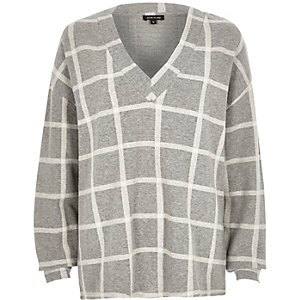 Grey check oversized V-neck top