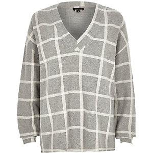 Grey check oversized V-neck top