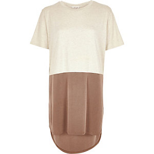 Beige block colour oversized t-shirt