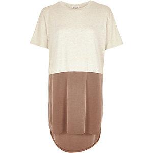 Beige block colour oversized t-shirt