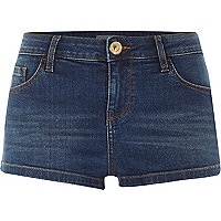 Dark wash low rise denim shorts