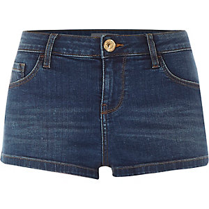 Dark wash low rise denim shorts