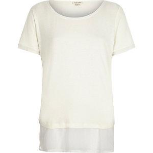 White contrast hem t-shirt