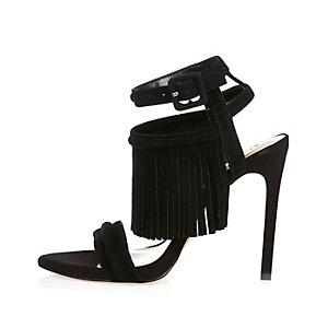 Black suede tassel heels