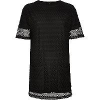 Black lace t-shirt dress