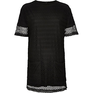 Black lace longline t-shirt