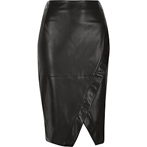 Black leather-look wrap pencil skirt