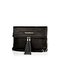 Black large fold over handbag