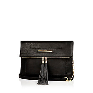 Black large fold over handbag