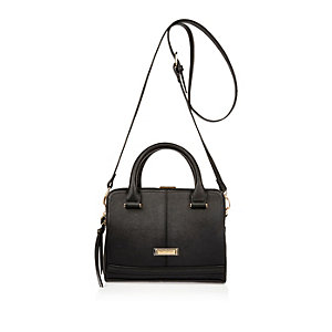 Black mini box tote handbag