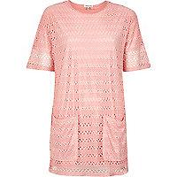 Pink lace longline t-shirt