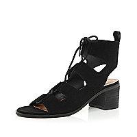 Black suede lace-up sandals