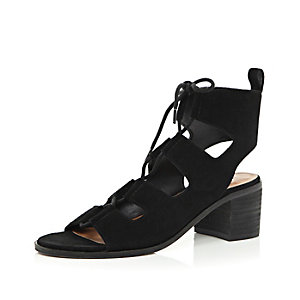 Black suede lace-up sandals