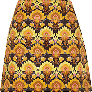 Yellow woven print mini pelmet skirt