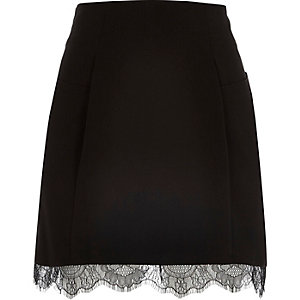 Black lace hem mini skirt