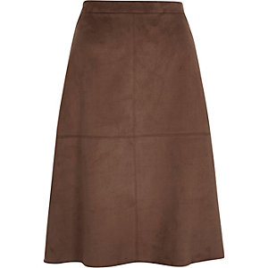 Brown faux-suede midi skirt